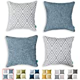 "Home Plus Throw Pillow Covers with Zippered, 4 Pcs Decorative Couch Cushion Protector Cover, Stylish, Breathable, 18""×18"""