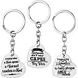 AIEX Teacher Appreciation Gifts Key Chain Heart Shaped Key Ring Set Message Keychain Halloween Thanksgiving Women Men(3 PCS)