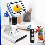 【2021アップグレード】顕微鏡 Hollee デジタル顕微鏡 電子顕微鏡 5インチ LCD FHD 200x拡大 USB 12MP 1920x1080 30fps 可調節LEDランプ マイクロスコープ 2200mAhバッテリー Lab ベースランプ