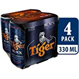 Tiger Black Lager Beer Can, 330ml (Pack of 4)