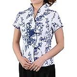 Bitablue Women's Stretch Cotton Short-Sleeve Chinese Shirt with Flower Print