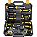 Magnetic Screwdriver Set 10 PCS, CREMAX Professional Cushion Grip 5 Phillips and 5 Flat Head Tips Screwdriver Non-Slip for Re