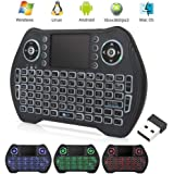 EASYTONE Backlit Mini Wireless Keyboard With Touchpad Mouse Combo and Multimedia Keys for Android TV Box HTPC PS3 XBOX360 Sma