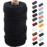 Black Macrame Cord 3mm x 109yards, Colored Macrame Rope, 3 Strand Twisted Cotton Rope Macrame Yarn, Colorful Cotton Craft Cor