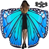Lulu Home Halloween Women Costume, Blue Butterfly Wings Cape for Women Fairy Costume, Halloween Shawl Costume Wings for Adult