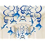Shark Party Supplies Summer Hanging Swirls - Sea/Sharknado/Kids Birthday Decorations Splash Ceiling Foil Ornaments(30 PCS)