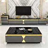 Coffee Table TV Cabinet Combination Living Room Coffee Table Marble Glass TV Cabinet Modern Minimalist Furniture TV Cabinet A