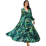 R.Vivimos Women Chiffon Print V Neck Long Sleeve Tie Waist Casual Boho Maxi Dresses