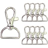 Swivel Clasp Lanyard Snap Hooks 50 PCS Trigger Snap Hooks with 3/4 INCH D Rings Metal Lobster Claw Clasps for Making Snap Tab