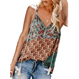 HOTAPEI Women's Casual Spaghetti Strap Button Front Tie Front V Neck Sleeveless Blouses Tops