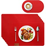 KADI Felt Placemats Heat Ressietant for Dining Table Waterproof Set of 6 with Coasters, Red Dining placemats for Kitchen Tabl