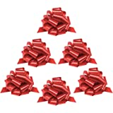 Zoe Deco Gift Bows (Red, 23 cm Wide, 24 Loops, 6 Pack), Weather Resistant Gift Bow, Red Pull Bows, Bows for Gifts, Gift Bows