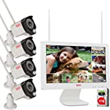 """Tonton Expandable All-in-One Full HD 1080P Security Camera System Wireless, 8CH WiFi NVR with 15.6"""" Monitor, 1TB HDD, 4PCS 10"""