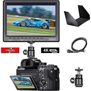 Neewer F100 7インチ 1280x800 IPSスクリーンカメラフィールドモニター  4K入力  BMPCC用ミニHDMIケーブル、FPV用AVケーブル付 16:10 4:3調整可能な表示比率(バッテリー含まぬ)