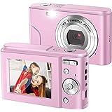 デジカメ コンパクト HD 16倍ズ デジタルカメラHDデジタルカメラコンパクトカメラ1080P 36MPカメラ16Xデジタルズーム、youtube vloggingカメラは学生/子供/初心者に適した(日本語取扱説明書付き)粉の