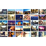 Travel Postcards,Set of 30 Post Cards Variety Pack Depicting from Around The World Famous Travel Sites,Assorted Postcards Bul