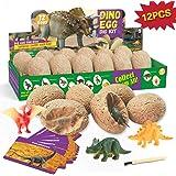 XXTOYS Dino Egg Dig Kit Dinosaur Eggs Dig Kits 12 Dinosaur Excavation Kits with 12 Unique Dinosaur Toys Dino Egg Kit for Kids