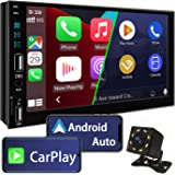 Doublel Din Car Stereo Compatible with Apple Carplay and Android Auto,7 Inch Car Stereo with Bluetooth 5.0, Touch Screen Car