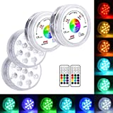 LOFTEK 13 LED Submersible Lights Remote Control with Suction Cups 164ft Remote Range, Extra Bright Color Changing Underwater