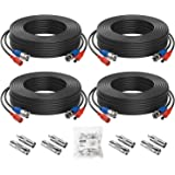 ZOSI 4 Pack 65Feet 20m BNC Video Power Cable Security Camera Wire Cord for Surveillance CCTV DVR Surveillance System (4-Pack,
