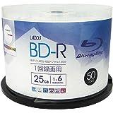 Lazos BD-R 25GB 1-6倍速対応 1回記録用 ホワイトワイド印刷対応 50枚組 スピンドルケース入 L-B…