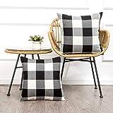 MKLFBT Decorative Throw Pillow Covers Pillowcase Cushion Cover Cushion Case, Polyester & Polyester Blend, Plaids Black+White,