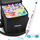 Alcohol Art Markers, Ohuhu 120 Colors Double Tipped Marker Set for Kids Adults Coloring, Alcohol-based Sketch Sketching Marke