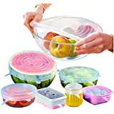 Sampurchase Silicone strech lids-Reusable Storage Containers Bowl Covers Bowla Keep Fresh Silicon lid 6 Pack of Various Sizes