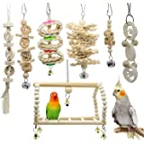 Aiconez 7 Packs Bird Parrot Accessories Swing Chewing Toys-Hanging Bell Bird Cage Toys Suitable for Small Parakeets, Cockatie