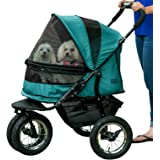 Pet Gear NO-Zip Double Pet Stroller, Zipperless Entry, for Single or Multiple Dogs/Cats, Plush Pad + Weather Cover Included,