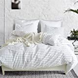 Mozeo White Grid Duvet Cover Set with Zipper Closure 2Pcs (1 Duvet Cover + 1 Pillowcase) Bed Quilt Cover Decor (Twin White)