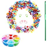 BEZONO Knitting Crochet Locking Stitch Markers, 104 Pieces 8 Colors Plastic Locking Counter Needle Clip, with 1 Crochet Hook