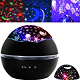 Night Light Projector Kids Star Night Light Ocean Projection Lights 8 Colors Changing Lamp 360 Degree Rotating Warm Sleeping