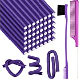 48 Pieces 9.4 Inch Flexible Curling Rods Twist Foam Hair Rollers Soft Foam No Heat Hair Rods Rollers and 1 Steel Pintail Comb