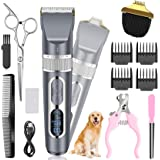 Dog Clippers 2 in 1, Cordless Pet Clippers with Small Trimmer Blade, Eocean 13 Pcs Pet Dog Grooming Kits with Detachable Blad