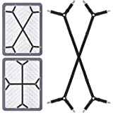 Foloda Bed Sheet Fasteners, 2 PCS Adjustable Crisscross Fitted Sheet Band Straps Grippers Suspenders for Bed Sheets,Mattress