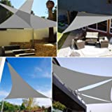 Sun Shade Sail Waterproof Outdoor Garden Patio Party Sunscreen Awing 3x3x3m Triangle Canopy 98% UV Block with Free Rope, Grey