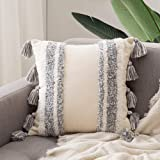 MIULEE Decorative Throw Pillow Cover Tribal Boho Woven Tufted Pillowcase with Tassels Super Soft Square Pillow Sham Pillowcas