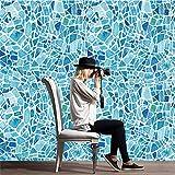 Yanqiao ウォールステッカー バロック風 タイルステッカー 床ステッカー ガラスステッカー 壁紙 かわいい オシャレ 防水 ブルー