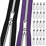 VOC Zippers #5-Continuous Zipper by The Yard,Silver Nylon Coil-Sewing Zipper Black+Purple Zipper Tape with 20PCS Pulls for Ta