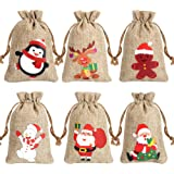 CCINEE 6 Syltes Christmas Linen Bags, with Drawstrings Christmas Burlap Gift Bags with Double Jute Drawstrings,12Pieces (Styl