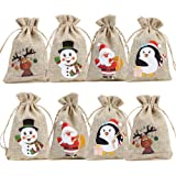 CCINEE Christmas Linen Bags with Drawstrings Christmas Burlap Goody Gift Bags with Double Jute Drawstrings,12