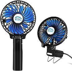 小型 扇風機、HandFan 手持ち扇風機/卓上扇風機 USB充電式扇風機 静音 携帯扇風機 強力 6枚羽根風量3段階調節 手持ち/卓上置き両用