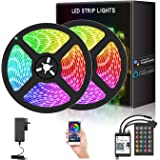 YESDEX Blutooth LED Strip Lights WiFi 10M LED Light 2x5M Waterproof Color Changing Rope 300LED 5050RGB Smart Phone Control (S