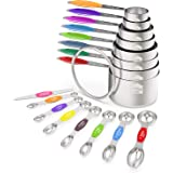 Measuring Cups and Magnetic Measuring Spoons Set, Wildone Stainless Steel 16 Piece Set, 8 Measuring Cups & 7 Double Sided Sta