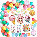Yansion Candyland Birthday Party Decorations, Donut Birthday Party Supply with Happy Birthday Banner, Candy Donut Ice Cream F