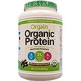 Orgain Organic Protein Plant-Based Powder, Creamy Chocolate Fudge,オーガニック プロテイン クリーミーチョコレートファッジ 1242g〔並行輸入〕