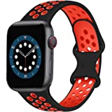 AIGENIU コンパチブル Apple Watch バンド 2個留め金具の多空気穴通気性 シリコン スポーツ バンド Compatible for アップルウォッチ バンド 42mm 44mm Apple Watch Series 6/SE/5/4