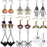9 Pairs Halloween Dangle Earring Set Pumpkin/Spider/Witch/Ghost/Bat/Skull/Vampire Lips/Spider Web Earrings for Women Girls Ha