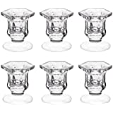 """Candle Holders, Dedoot Pack of 6 Glass Candle Holders Centerpiece Clear Candlestick Holders Fit 1 7/8"""" Pillar or 7/8"""" Taper C"""